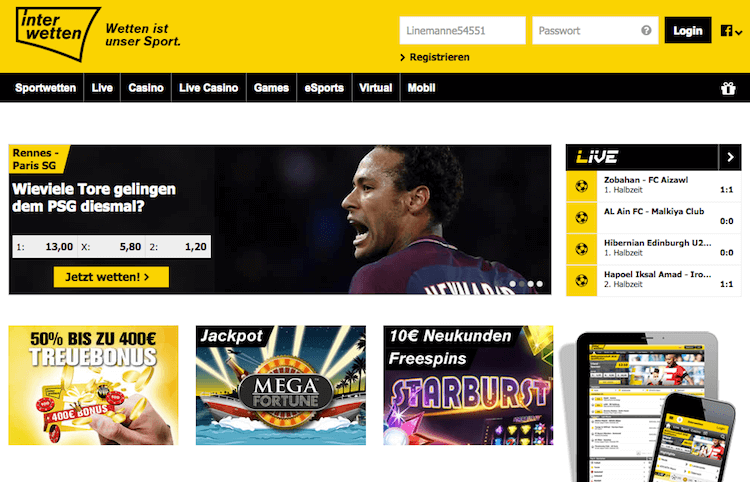 Interwetten Sportwetten-Website